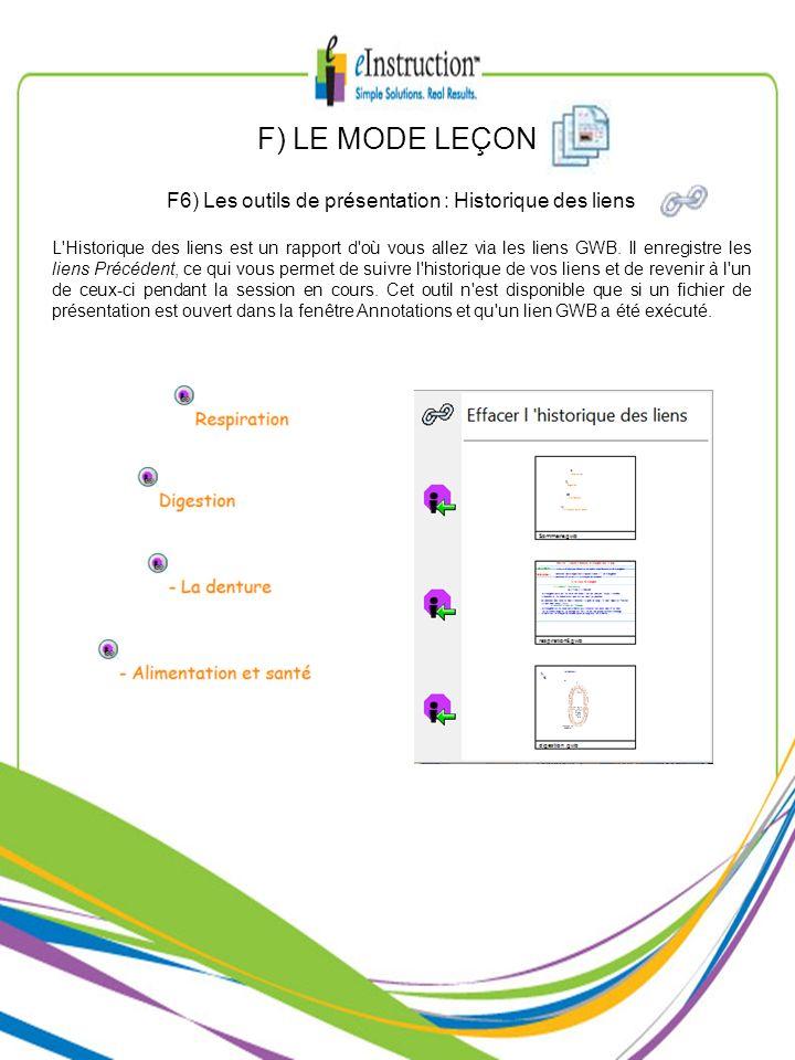 F6) Les outils de présentation : Historique des liens