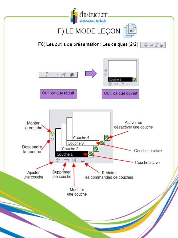 F) LE MODE LEÇON F6) Les outils de présentation : Les calques (2/2)