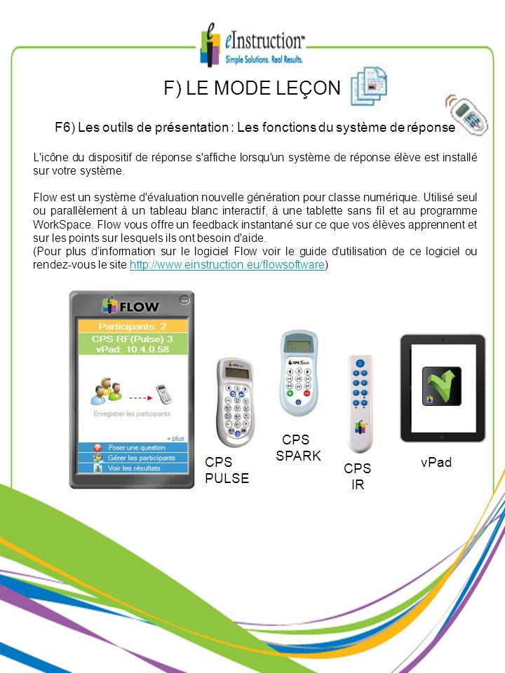 F6) Les outils de présentation : Les fonctions du système de réponse