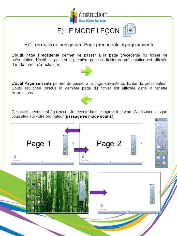 F7) Les outils de navigation : Page précédente et page suivante