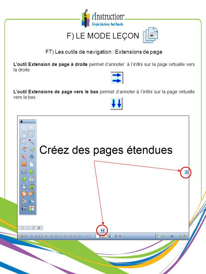 F7) Les outils de navigation : Extensions de page