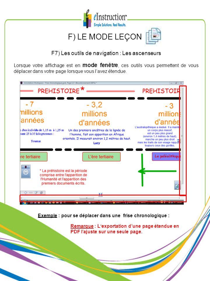 F7) Les outils de navigation : Les ascenseurs