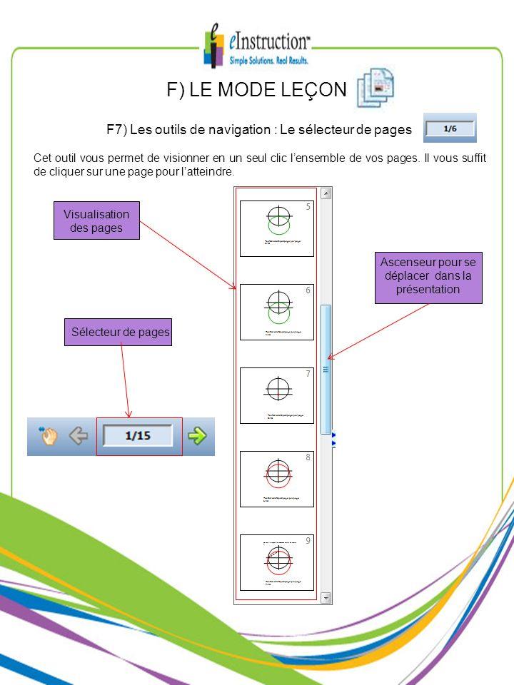 F) LE MODE LEÇON F7) Les outils de navigation : Le sélecteur de pages