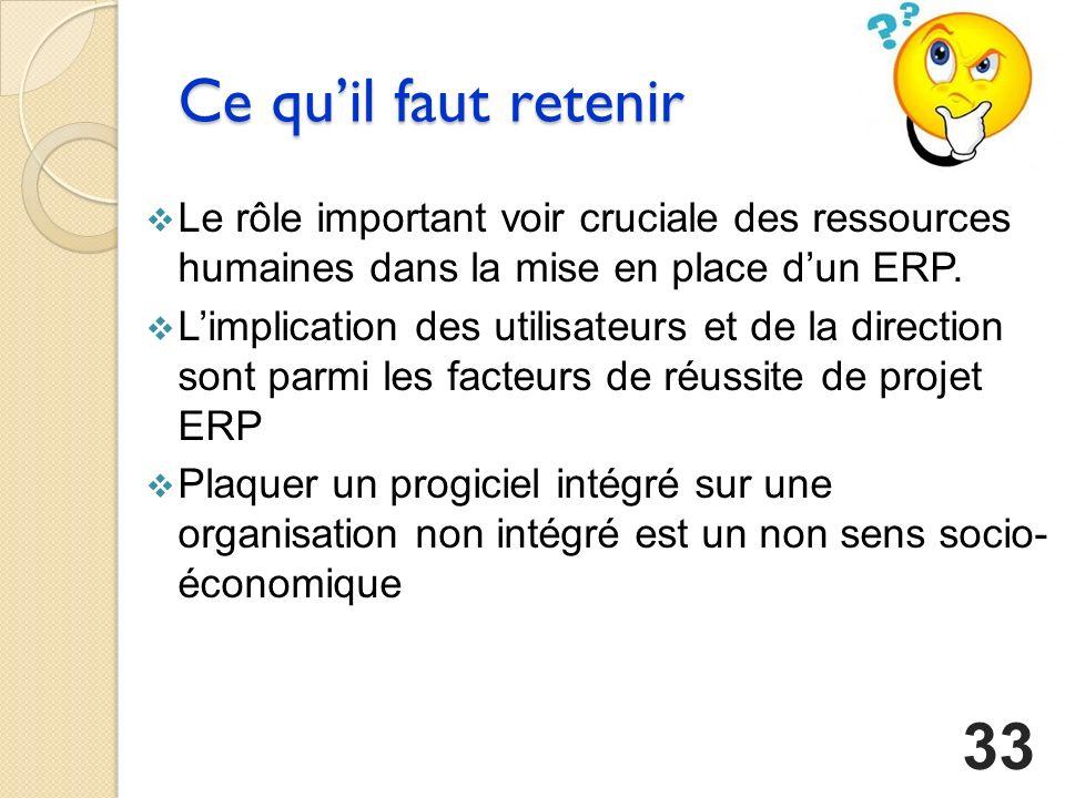 Ce qu'il faut retenir Le rôle important voir cruciale des ressources humaines dans la mise en place d'un ERP.