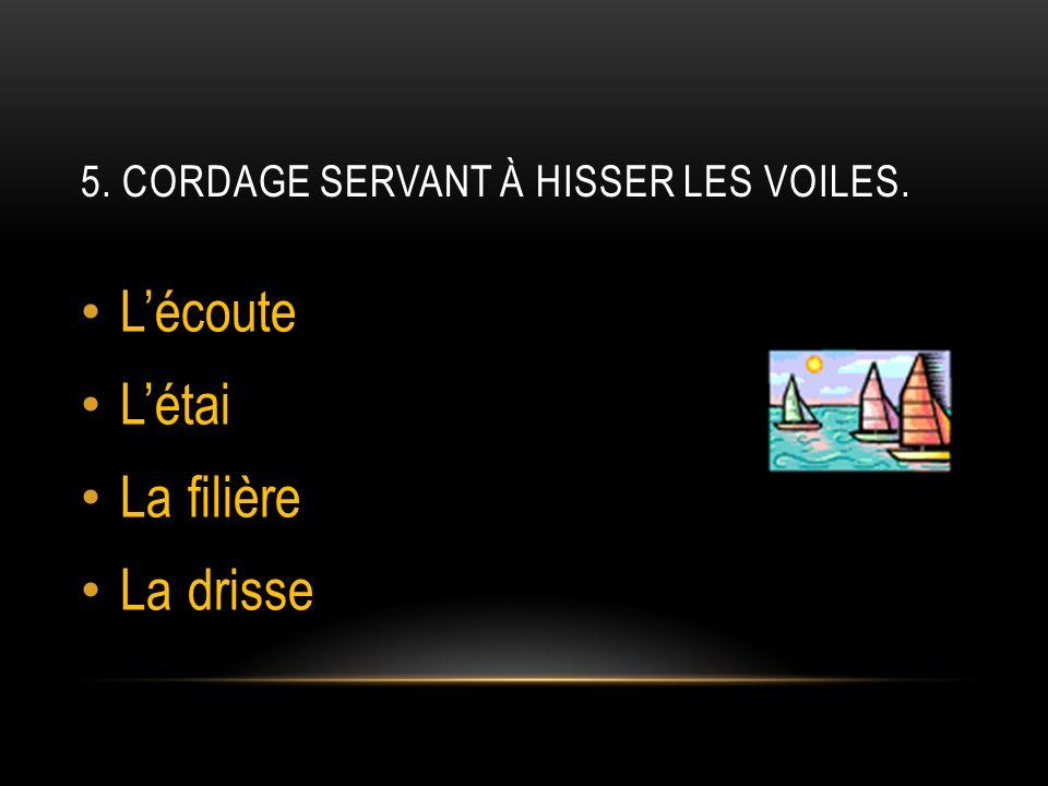 5. Cordage servant à hisser les voiles.