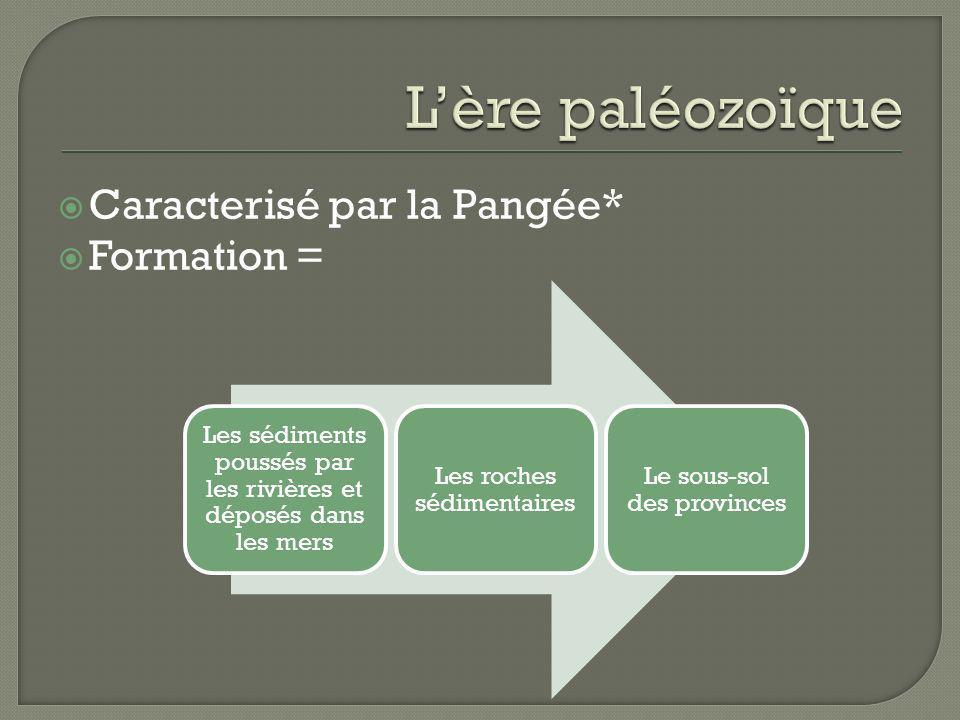 L'ère paléozoïque Caracterisé par la Pangée* Formation =