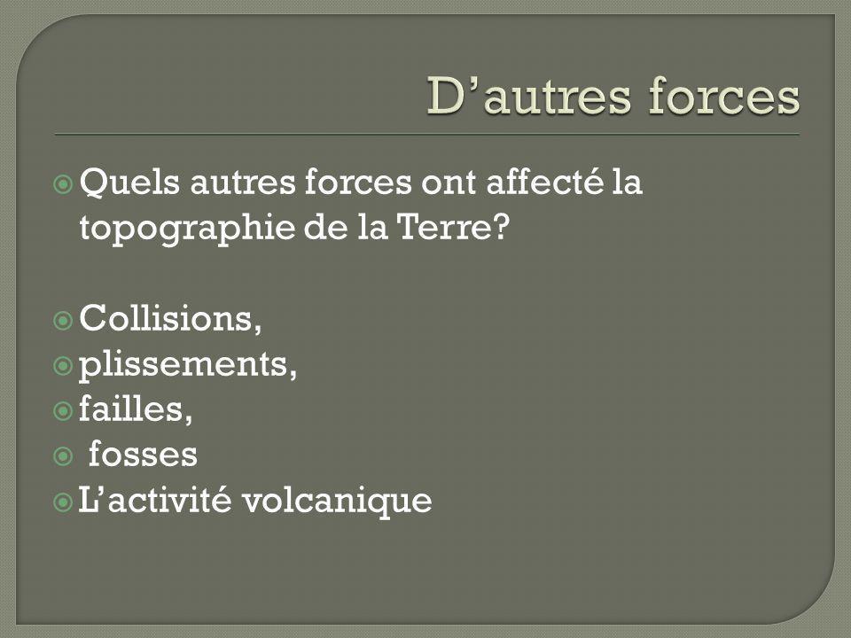 D'autres forces Quels autres forces ont affecté la topographie de la Terre Collisions, plissements,