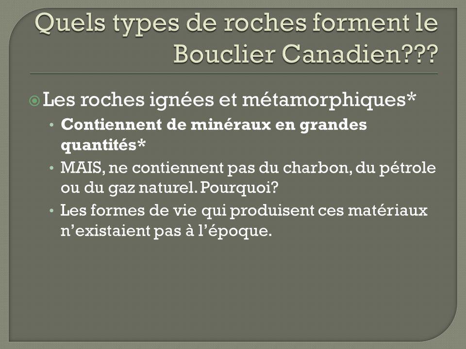 Quels types de roches forment le Bouclier Canadien