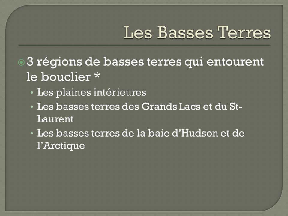 Les Basses Terres3 régions de basses terres qui entourent le bouclier * Les plaines intérieures. Les basses terres des Grands Lacs et du St- Laurent.
