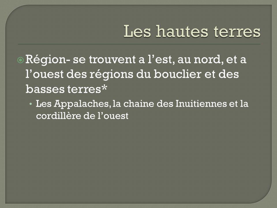 Les hautes terres Région- se trouvent a l'est, au nord, et a l'ouest des régions du bouclier et des basses terres*