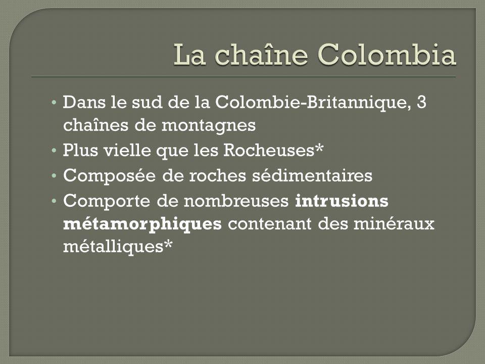 La chaîne Colombia Dans le sud de la Colombie-Britannique, 3 chaînes de montagnes. Plus vielle que les Rocheuses*