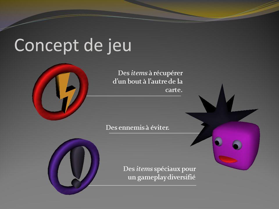 Concept de jeu Des items à récupérer d'un bout à l'autre de la carte.