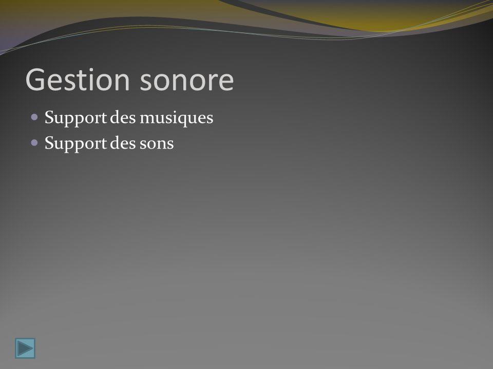 Gestion sonore Support des musiques Support des sons