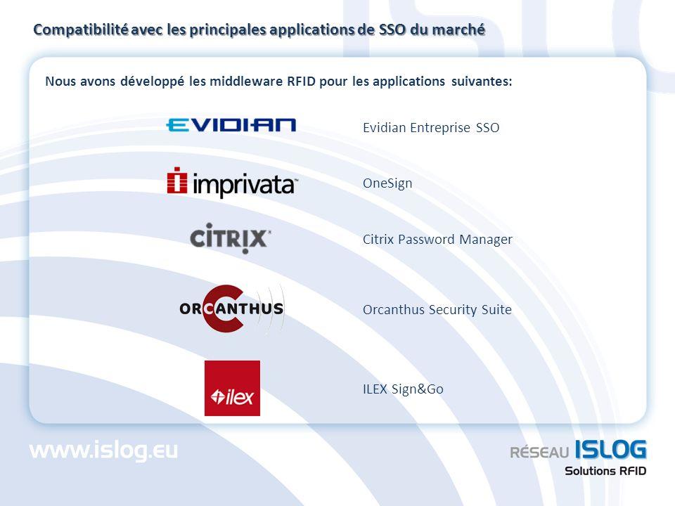 Compatibilité avec les principales applications de SSO du marché
