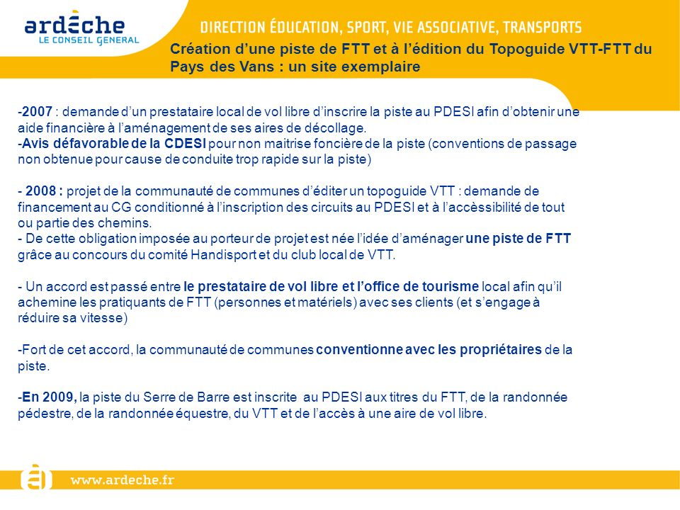 Création d'une piste de FTT et à l'édition du Topoguide VTT-FTT du Pays des Vans : un site exemplaire