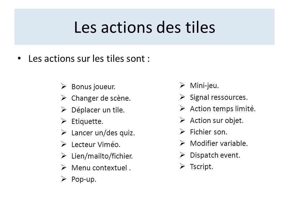 Les actions des tiles Les actions sur les tiles sont : Bonus joueur.