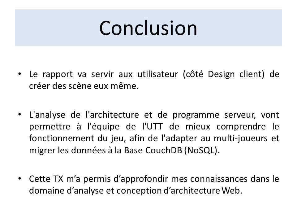 Conclusion Le rapport va servir aux utilisateur (côté Design client) de créer des scène eux même.