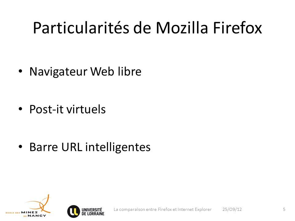 Particularités de Mozilla Firefox
