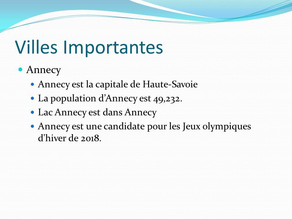 Villes Importantes Annecy Annecy est la capitale de Haute-Savoie