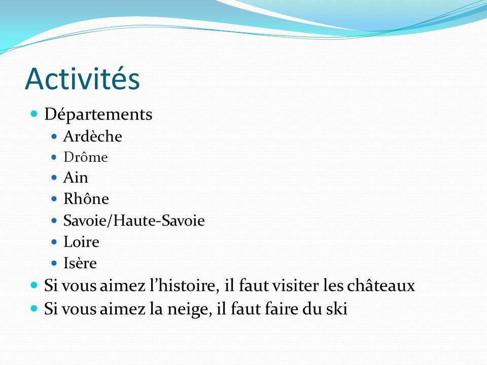Activités Départements