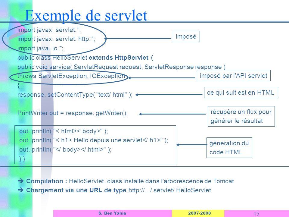 Exemple de servlet L'interface d'un objet ASP import javax. servlet.*;