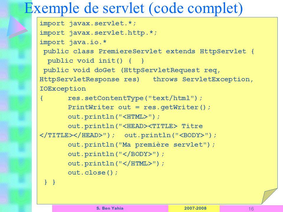 Exemple de servlet (code complet)