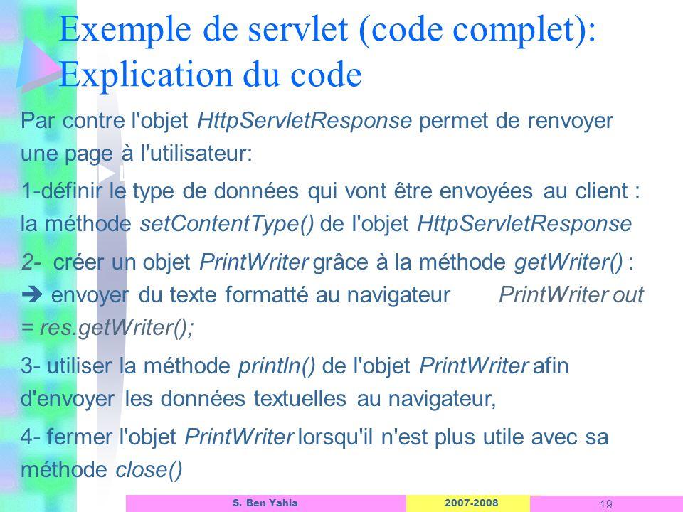 Exemple de servlet (code complet): Explication du code