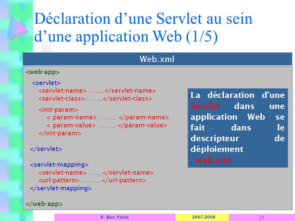 Déclaration d'une Servlet au sein d'une application Web (1/5)