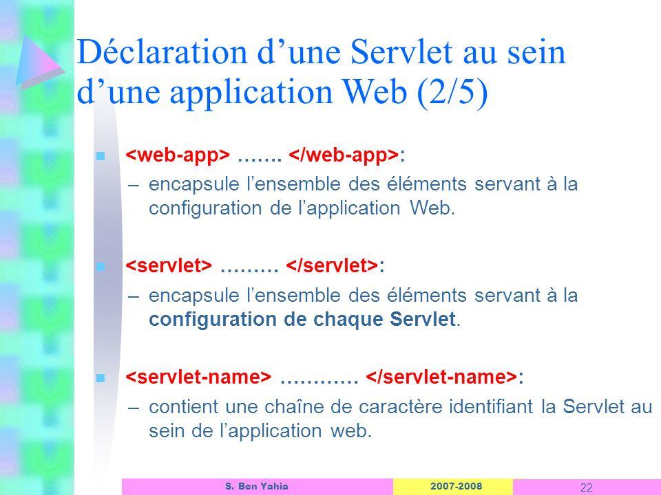Déclaration d'une Servlet au sein d'une application Web (2/5)