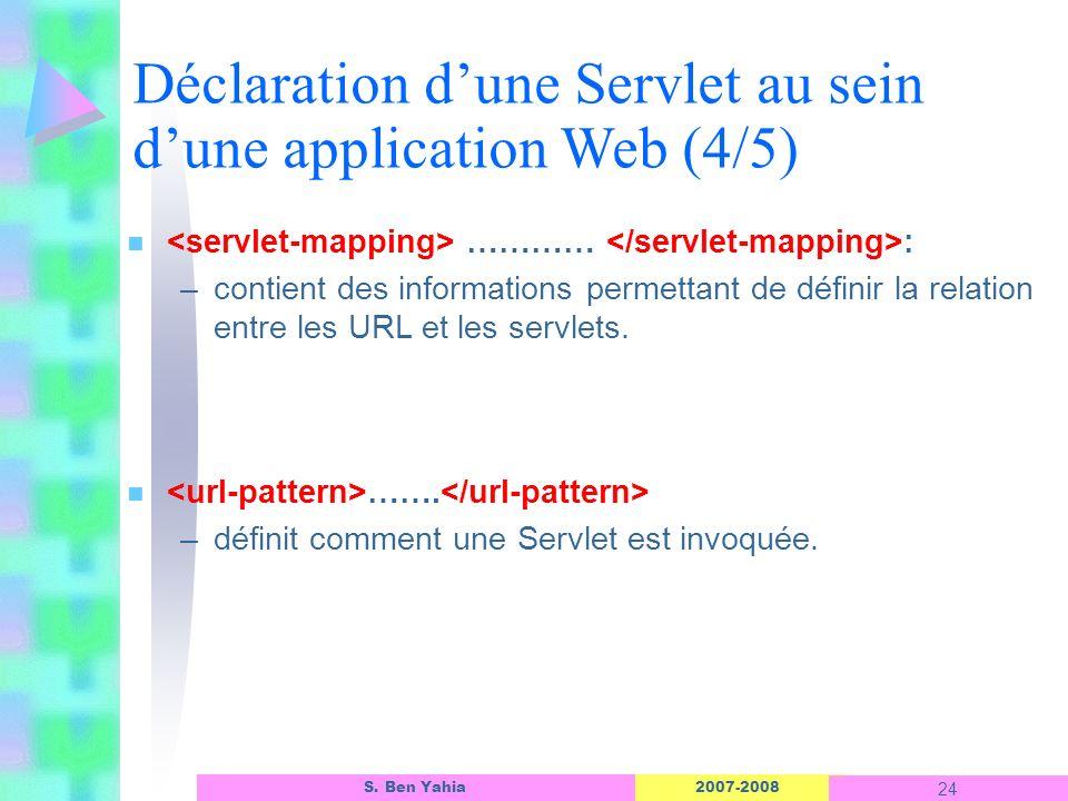 Déclaration d'une Servlet au sein d'une application Web (4/5)