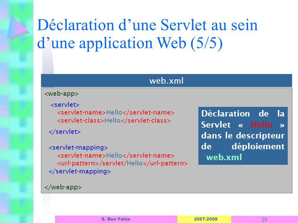 Déclaration d'une Servlet au sein d'une application Web (5/5)