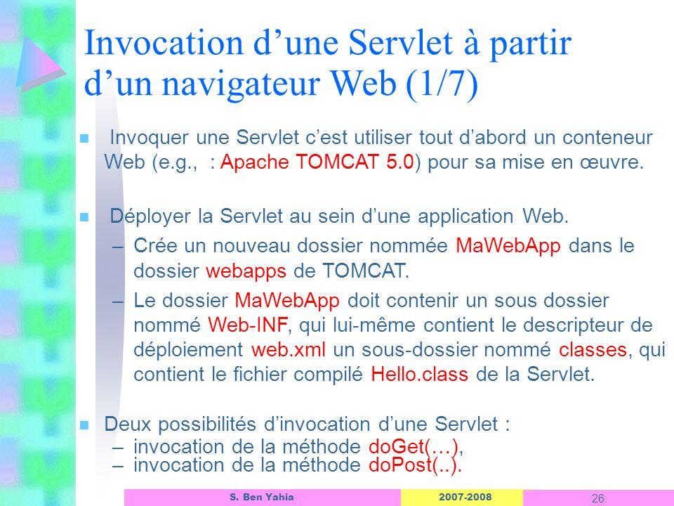 Invocation d'une Servlet à partir d'un navigateur Web (1/7)