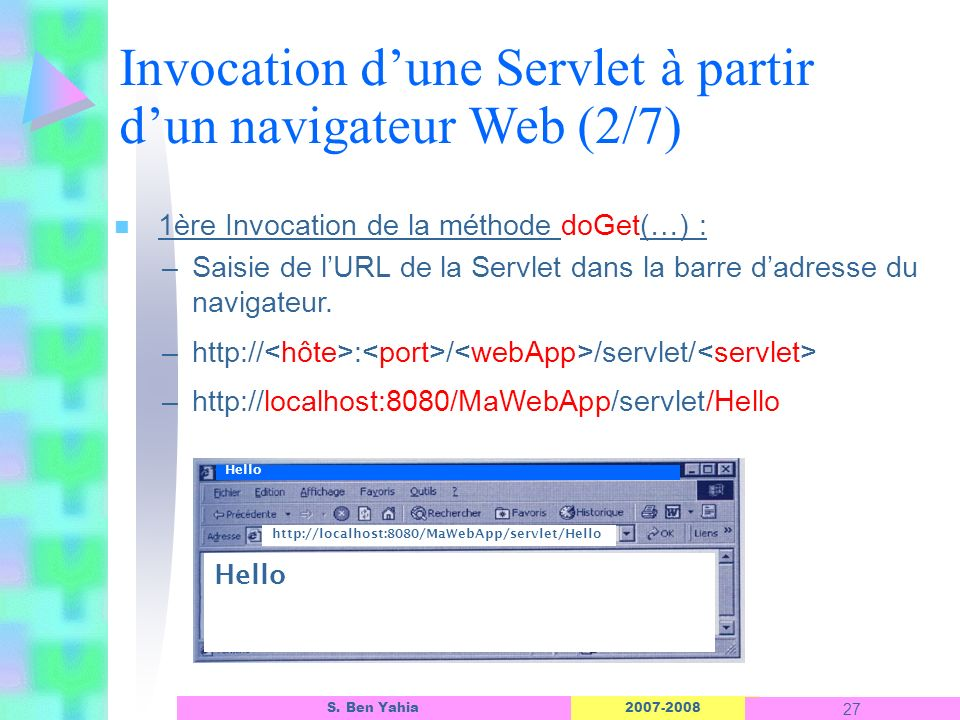 Invocation d'une Servlet à partir d'un navigateur Web (2/7)
