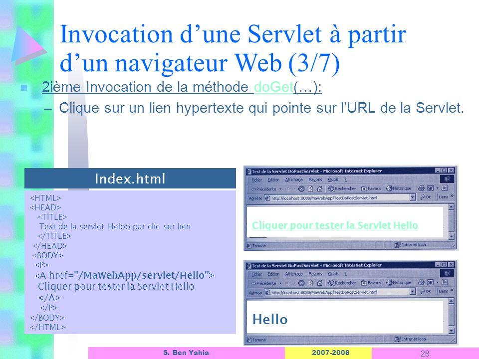 Invocation d'une Servlet à partir d'un navigateur Web (3/7)