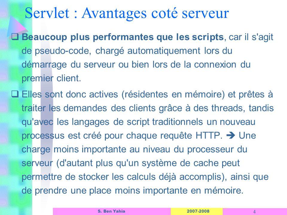 Servlet : Avantages coté serveur