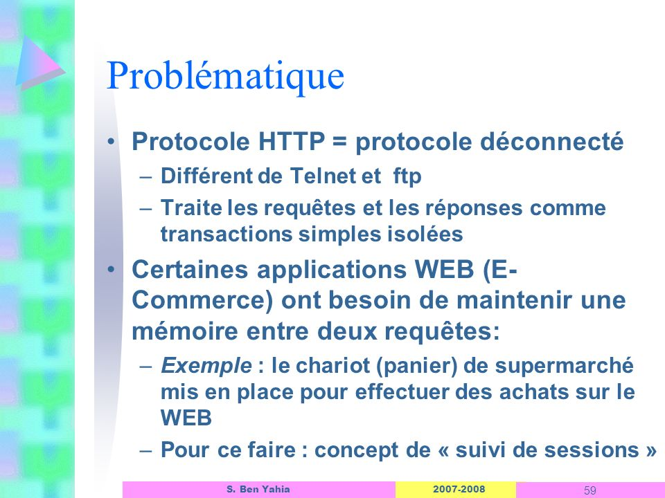 Problématique Protocole HTTP = protocole déconnecté