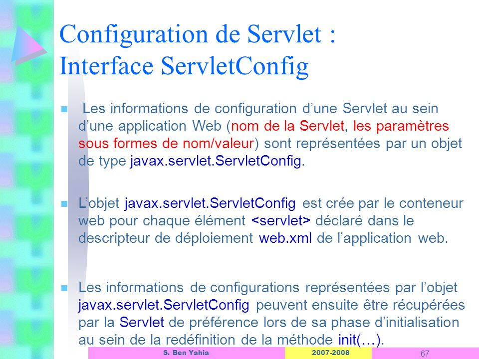 Configuration de Servlet : Interface ServletConfig