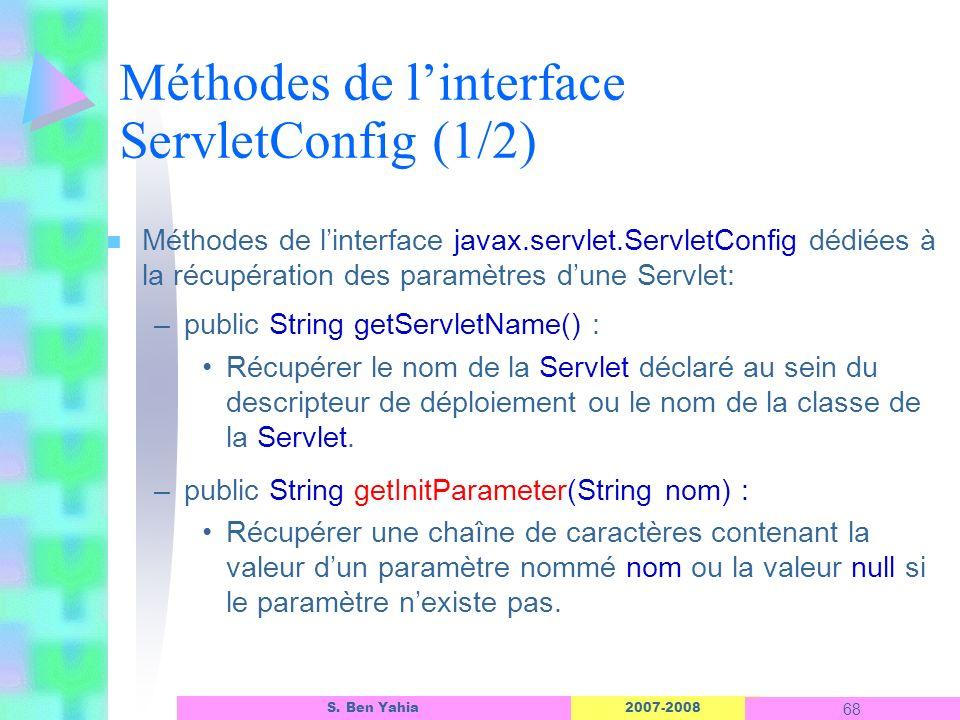 Méthodes de l'interface ServletConfig (1/2)