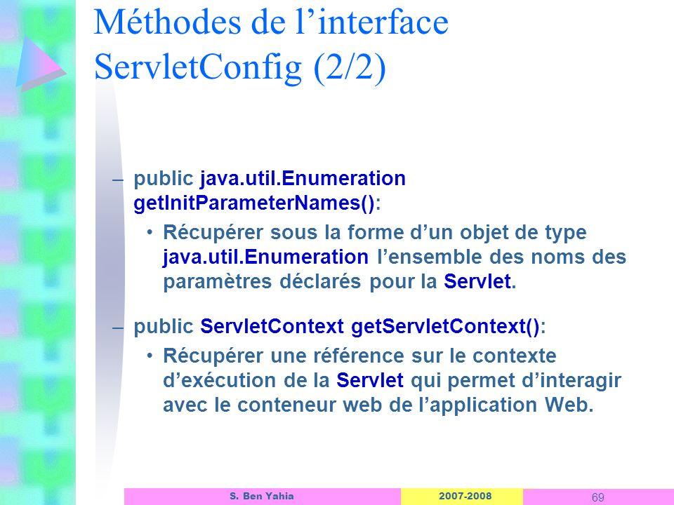 Méthodes de l'interface ServletConfig (2/2)