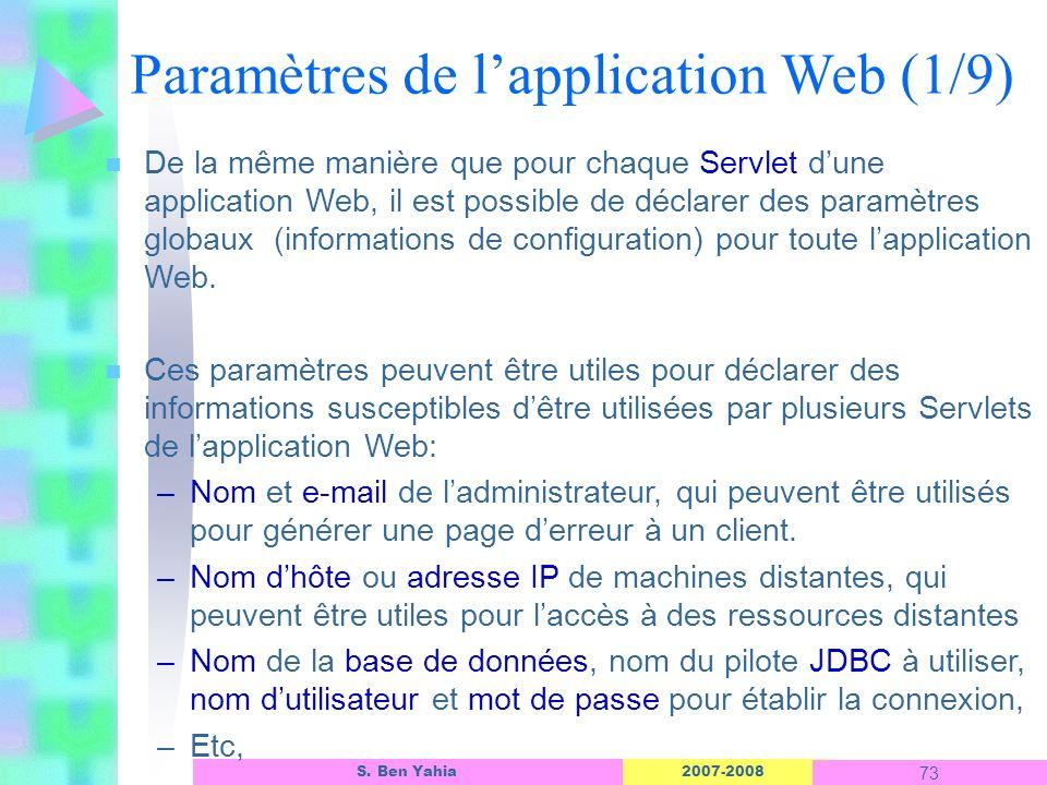 Paramètres de l'application Web (1/9)