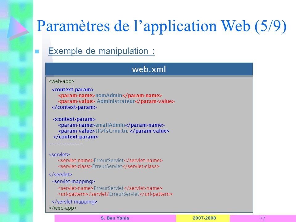 Paramètres de l'application Web (5/9)