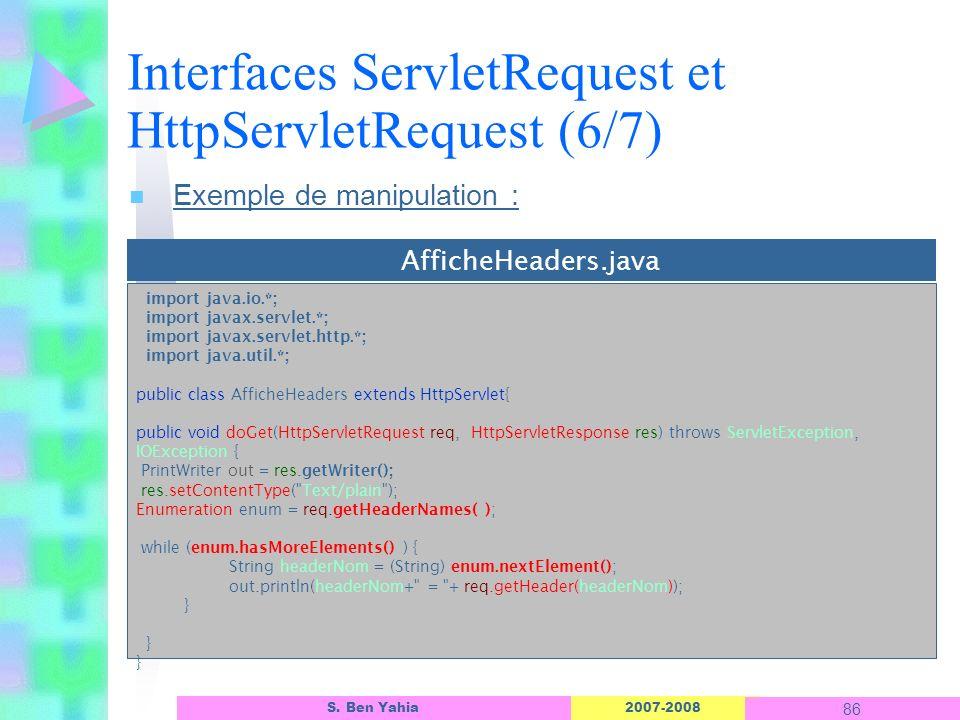 Interfaces ServletRequest et HttpServletRequest (6/7)