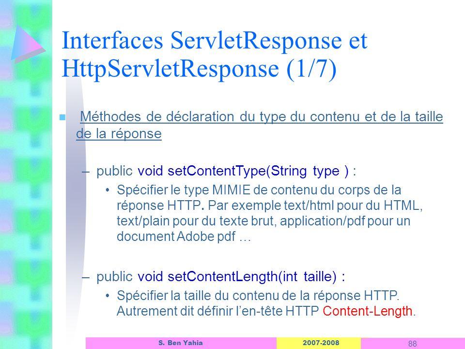 Interfaces ServletResponse et HttpServletResponse (1/7)