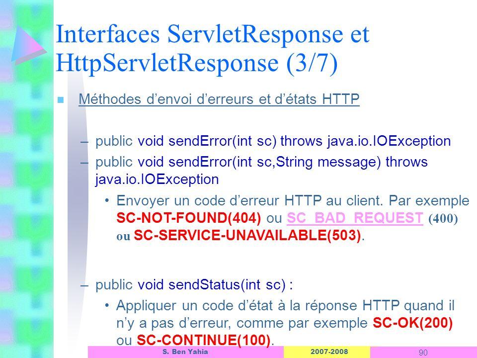 Interfaces ServletResponse et HttpServletResponse (3/7)