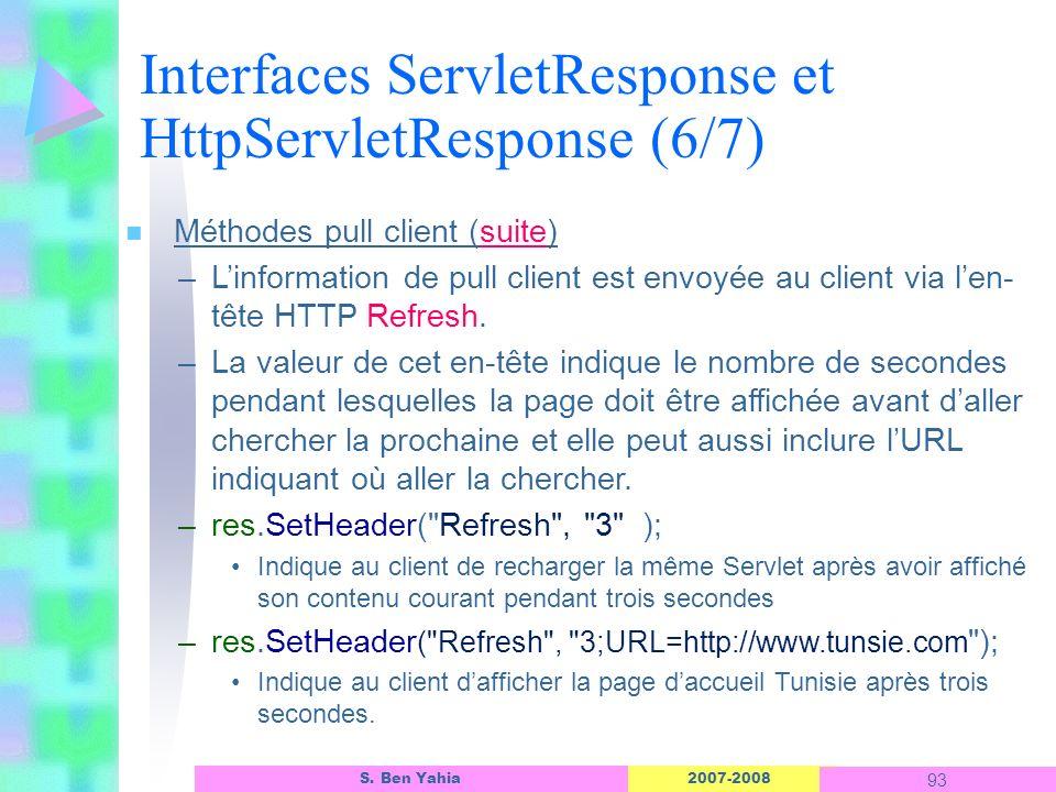 Interfaces ServletResponse et HttpServletResponse (6/7)