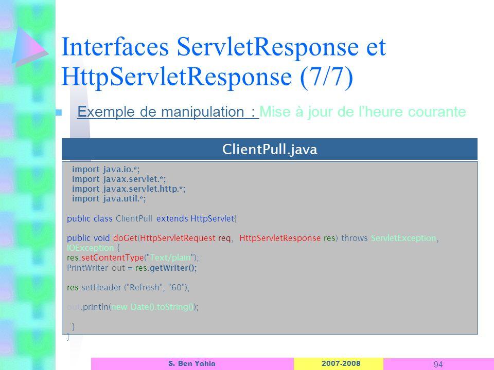 Interfaces ServletResponse et HttpServletResponse (7/7)