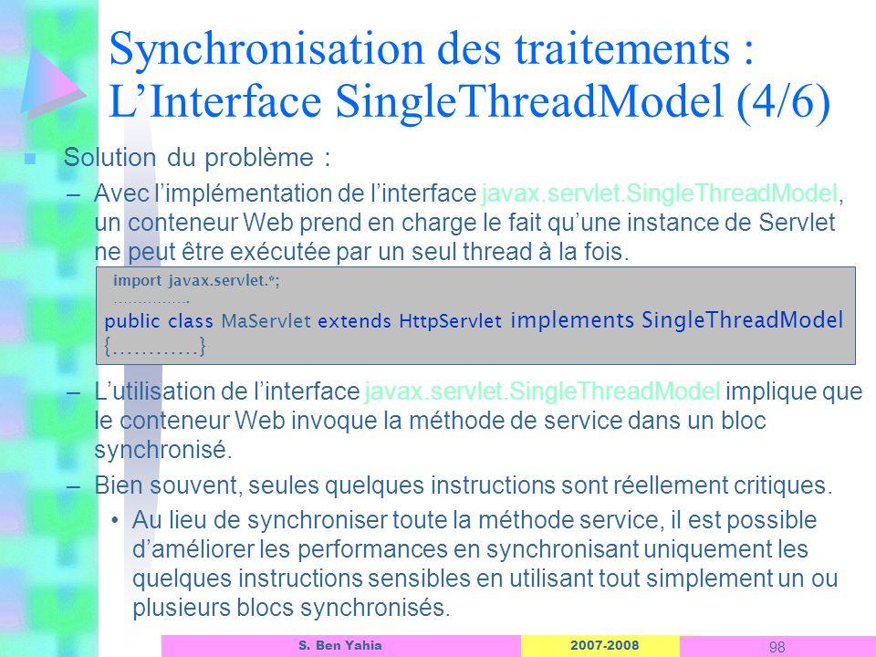 Synchronisation des traitements : L'Interface SingleThreadModel (4/6)