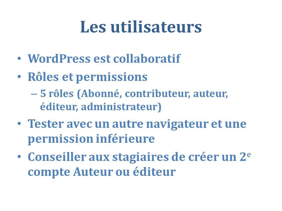 Les utilisateurs WordPress est collaboratif Rôles et permissions
