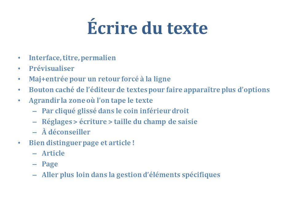 Écrire du texte Interface, titre, permalien Prévisualiser