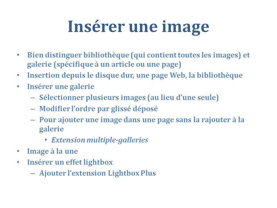 Insérer une image Bien distinguer bibliothèque (qui contient toutes les images) et galerie (spécifique à un article ou une page)